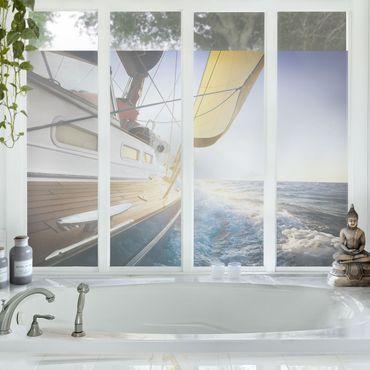 Decorazione per finestre Sailboat on blue sea at sunshine