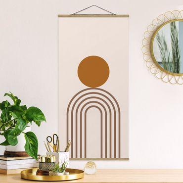 Quadro su tessuto con stecche per poster - Line Art Circle e linee in rame - Verticale 2:1