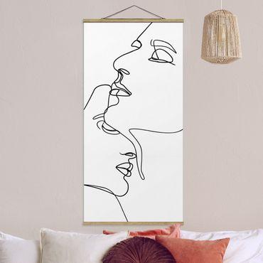 Quadro su tessuto con stecche per poster - Line Art Tender Faces Bianco e nero - Verticale 2:1