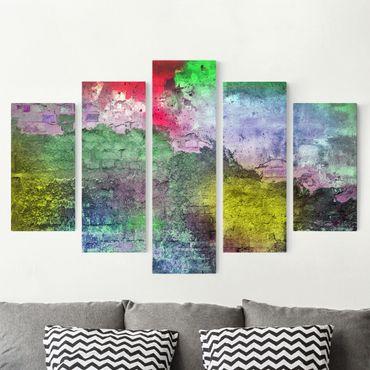 Stampa su tela 5 parti - Colorful sprayed old wall of brick