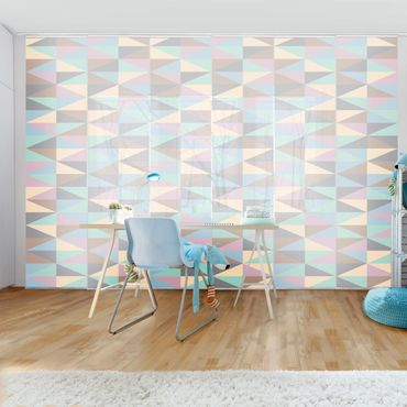 Tende scorrevoli set - Triangles In Pastel Colors