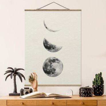 Foto su tessuto da parete con bastone - tre Lune - Verticale 4:3