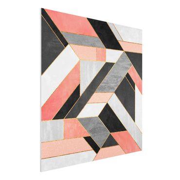 Stampa su Forex - Geometria rosa e oro - Quadrato 1:1