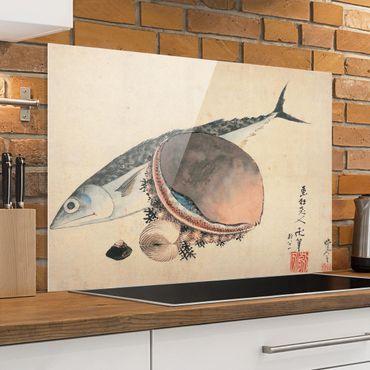 Paraschizzi in vetro - Katsushika Hokusai - Mackerel And Sea Shells - Orizzontale 2:3