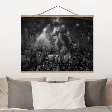 Foto su tessuto da parete con bastone - Luce del sole su New York - Orizzontale 3:4