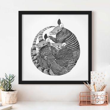 Poster con cornice - Illustrazione del modello Armadillos Bianco e nero - Quadrato 1:1
