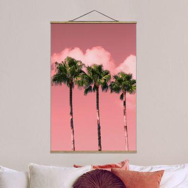 Foto su tessuto da parete con bastone - Palme contro il cielo rosa - Verticale 3:2