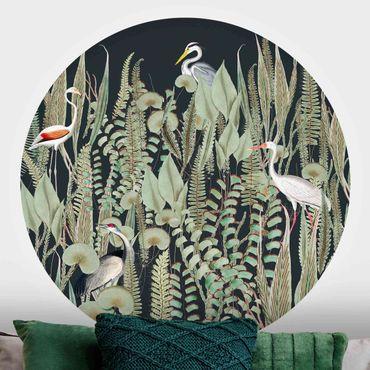 Carta da parati rotonda autoadesiva - Flamingo e cicogna con le piante su verde