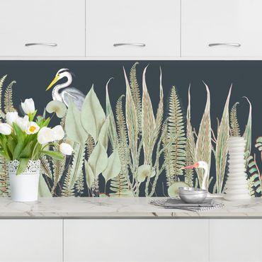 Rivestimento cucina - Fenicottero e cicogna con piante su sfondo verde