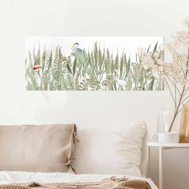 Quadro in vetro - Fenicottero e cicogna con piante