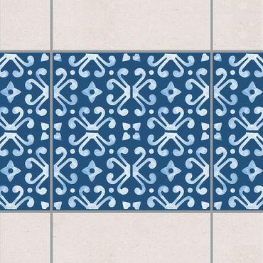 Adesivo per piastrelle - Dark Blue White Pattern Series No.07