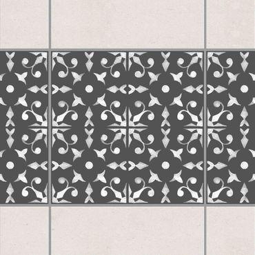 Adesivo per piastrelle - Dark Gray White Pattern Series No.06