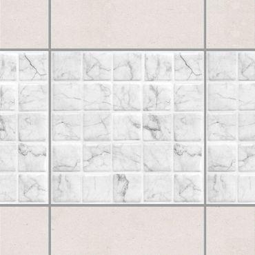 Adesivo per piastrelle - Mosaic Tile Marble Look Bianco Carrara 10x10 cm