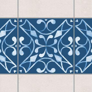 Adesivo per piastrelle - Pattern Dark Blue White Series No.3