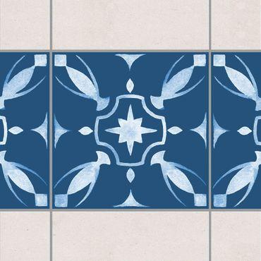Adesivo per piastrelle - Pattern Dark Blue White Series No.1
