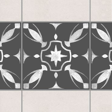Adesivo per piastrelle - Pattern Dark Gray White Series No.01