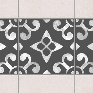 Adesivo per piastrelle - Pattern Dark Gray White Series No.05