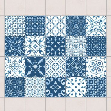 Adesivo per piastrelle - Multicolour Pattern Blue White - Mix 10cm x 10cm