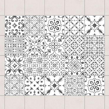 Adesivo per piastrelle - Gray White Pattern Mix - Mix 10cm x 10cm