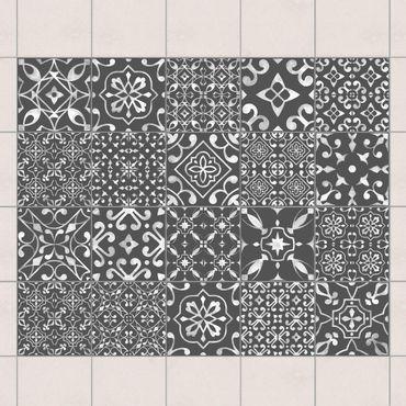 Adesivo per piastrelle - Mix Pattern Dark Gray White - Mix 10cm x 10cm