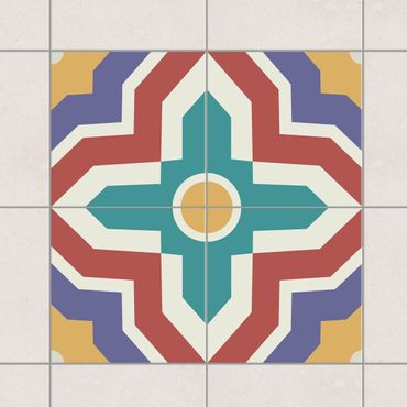 Adesivo per piastrelle - Set - 4 Moroccan tiles crisscross 10cm x 10cm