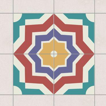 Adesivo per piastrelle - Set - 4 Moroccan tiles star pattern 10cm x 10cm