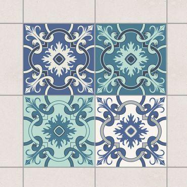 Adesivo per piastrelle - Set - 4 Spanish tiles turquoise 10cm x 10cm