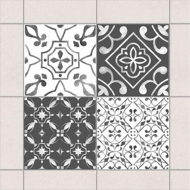 Adesivo per piastrelle - Watercolor Pattern Gray White No.1 - Mix 10cm x 10cm