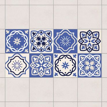Adesivo per piastrelle - Set - 8 Portuguese tiles 10cm x 10cm