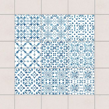Adesivo per piastrelle - Blue White Pattern Series - Mix 10cm x 10cm