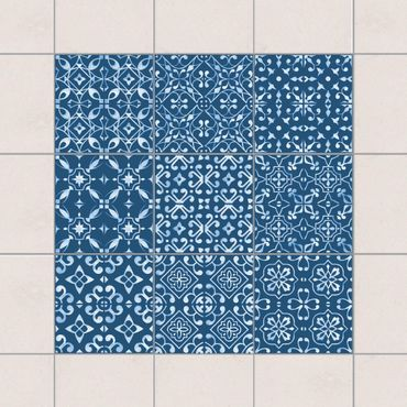 Adesivo per piastrelle - Dark Blue White Pattern Series - Mix 10cm x 10cm
