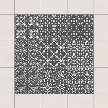 Adesivo per piastrelle - Dark Gray White Pattern Series - Mix 10cm x 10cm