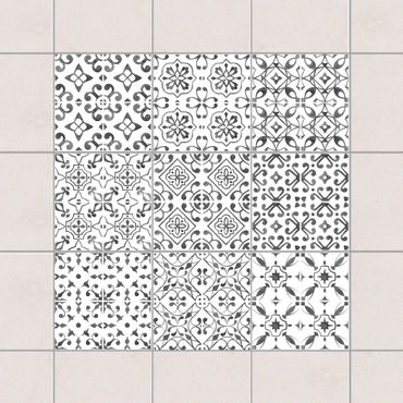 Adesivo per piastrelle - Gray White Pattern Series - Mix 10cm x 10cm