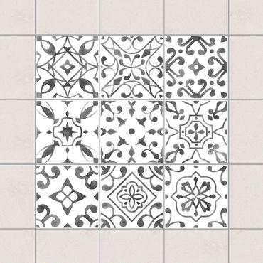 Adesivo per piastrelle - Pattern Gray White Set - Mix 10cm x 10cm