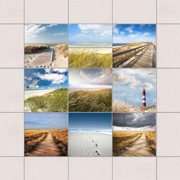 Adesivo per piastrelle - Beach Set - Mix 10cm x 10cm