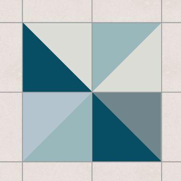 Adesivo per piastrelle - Blue Triangle Pattern 20cm x 15cm