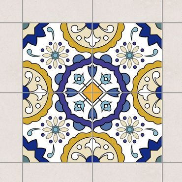Adesivo per piastrelle - Set - Flowers ornament from 4 Spanish tiles 10cm x 10cm