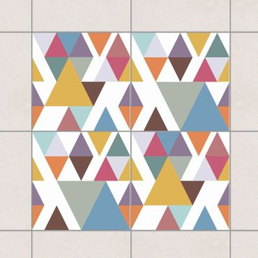 Adesivo per piastrelle - Colorful Triangles 20cm x 15cm