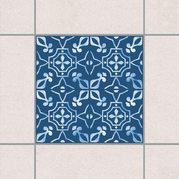 Adesivo per piastrelle - Dark Blue White Pattern Series No.02