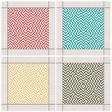 Adesivo per piastrelle - Geometric Design Colour Set 10cm x 10cm