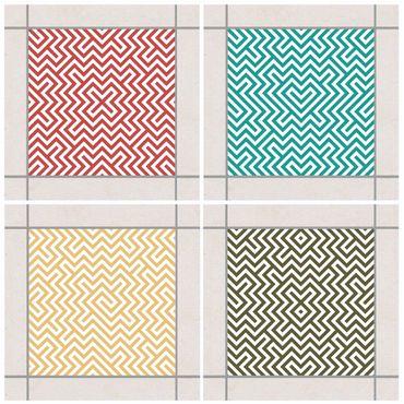 Adesivo per piastrelle - Geometric Design Colour Set 10cm x 10cm