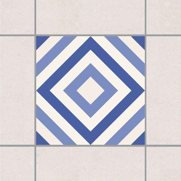 Adesivo per piastrelle - Moroccan tile karo blue white 10cm x 10cm