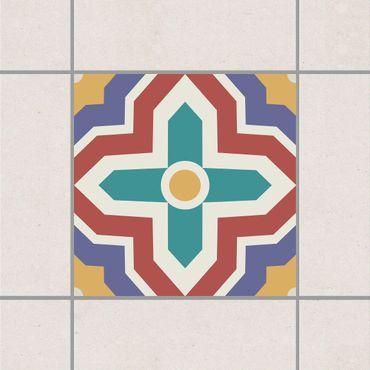 Adesivo per piastrelle - Moroccan tile crisscross pattern 10cm x 10cm