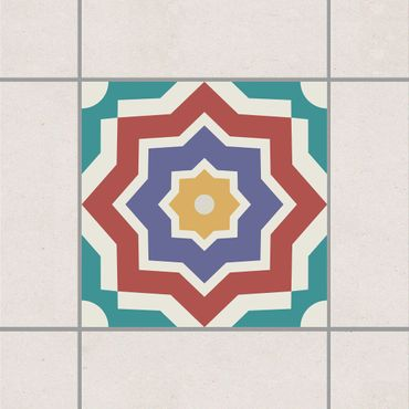 Adesivo per piastrelle - Moroccan tile star pattern 10cm x 10cm