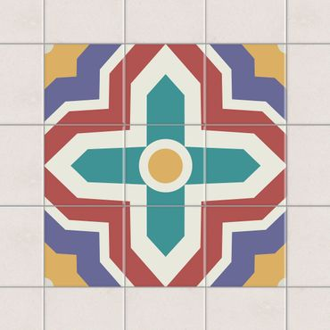 Adesivo per piastrelle - Set - Moroccan tiles cross ornament 10cm x 10cm