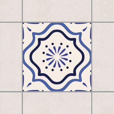 Adesivo per piastrelle - Mediterranean tile white blue 10cm x 10cm