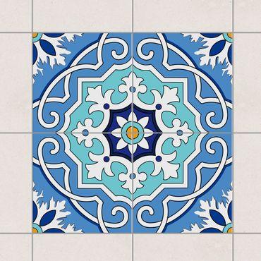 Adesivo per piastrelle - Set - Mediterranean tiles mirror blue 10cm x 10cm