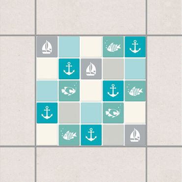 Adesivo per piastrelle - Mosaic Tiles no.YK68 Maritime Turquoise Blue Gray 20cm x 20cm