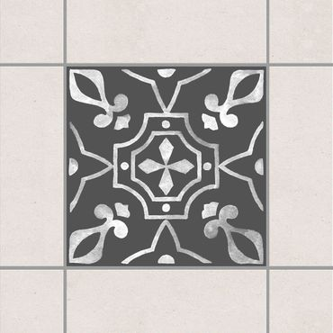 Adesivo per piastrelle - Pattern Dark Gray White Series No.08