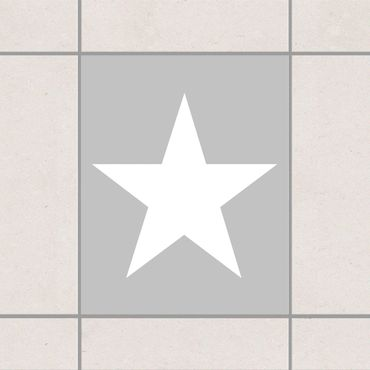 Adesivo per piastrelle - Large white stars on grey 15cm x 15cm